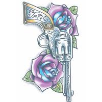 Realistische revolver tattoo 1 vel Multi