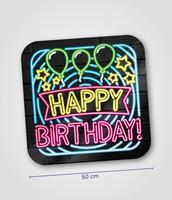 Huldeschild Neon - Happy Birthday