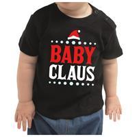 Bellatio Kerstshirt Baby Claus zwart baby jongen/meisje 80 (7-12 maanden) Zwart