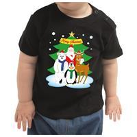 Bellatio Kerstshirt kerstman / dierenvriendjes zwart baby jongen/meisje 80 (7-12 maanden) Zwart