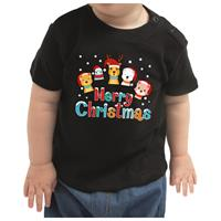 Bellatio Kerstshirt Merry Christmas diertjes zwart baby jongen/meisje 80 (7-12 maanden) Zwart