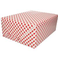 Bellatio Bruiloft inpakpapier/cadeaupapier rood hart print 200 x 70 cm Rood