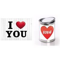 Bellatio I Love You Valentijnskaart met love cadeaublik hartje Rood