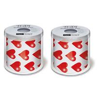2x stuks Hartjes/I love you toiletpapier/wc rollen Multi