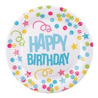 Boland feestborden Happy Birthday 23 cm karton 6 stuks