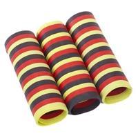 6x rolletjes serpentine rollen zwart/rood/geel van 4 meter - Serpentines
