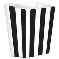 Amscan snoepbakjes streep 5 stuks 9,5 x 13,5 cm zwart