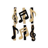 6x Bruiloft versiering muzieknoten mini knijpertjes decoratie materiaal - Feestdecoratievoorwerp