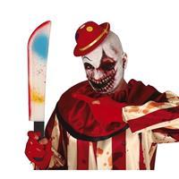 Horror verkleed slagersmes/kapmes gekleurd 54 cm - Verkleedattributen
