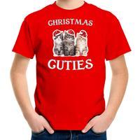 Bellatio Decorations Kitten Kerst t-shirt / outfit Christmas cuties rood voor kinderen