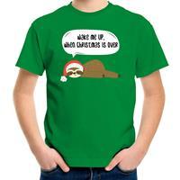 Bellatio Decorations Luiaard Kerst t-shirt / outfit Wake me up when christmas is over groen voor kinderen