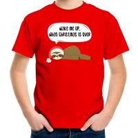 Bellatio Decorations Luiaard Kerst t-shirt / outfit Wake me up when christmas is over rood voor kinderen