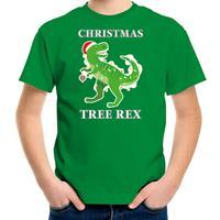 Bellatio Decorations Christmas tree rex Kerstshirt / outfit groen voor kinderen