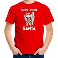 Bellatio Decorations Surf dude Santa fun Kerstshirt / outfit rood voor kinderen