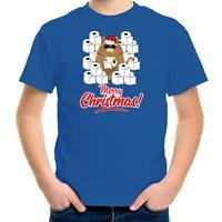 Bellatio Decorations Fout Kerst t-shirt / outfit met hamsterende kat Merry Christmas blauw voor kinderen