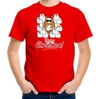 Bellatio Decorations Fout Kerst t-shirt / outfit met hamsterende kat Merry Christmas rood voor kinderen