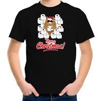 Bellatio Decorations Fout Kerst t-shirt / outfit met hamsterende kat Merry Christmas zwart voor kinderen