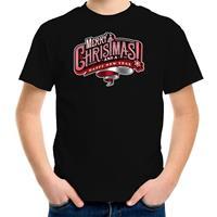 Bellatio Decorations Merry Christmas Kerstshirt / Kerst t-shirt zwart voor kinderen