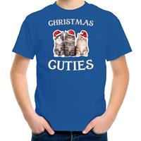 Bellatio Decorations Kitten Kerst t-shirt / outfit Christmas cuties blauw voor kinderen