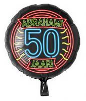 Paper Dreams folieballon Abraham 50 jaar rond 46 cm zwart