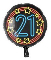 Paper Dreams folieballon cijfer 21 rond 46 cm zwart/blauw