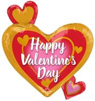 Anagram folieballon Happy Valentine's Day 50 x 55 cm rood/goud