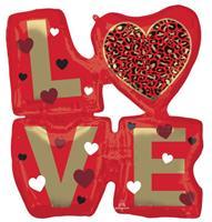 Anagram folieballon Love 68 x 73 cm rood/goud