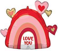 Anagram folieballon Love Rainbow 66 x 58 cm roze/rood/goud