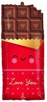 Anagram folieballon Chocolate Love 71 x 33 cm rood/bruin