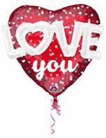 Anagram folieballon Love You 91 cm rood/wit