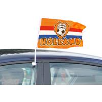 Merkloos 2x stuks Oranje Holland autovlaggen 30 x 45 cm -