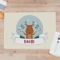 """Wanapix Kerst Placemats """"Rendier"""" van stof met foto en naam bedrukken 50 x 35 cm"""
