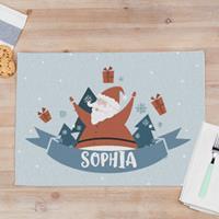 """Wanapix Kerst Placemats """"Santa"""" van stof met foto en naam bedrukken 50 x 35 cm"""