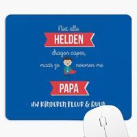 """Wanapix Rechthoekige Muismat """"Helden Papa"""" met naam en foto bedrukken"""