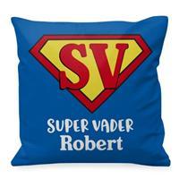 """Wanapix Vierkant Kussen """"Super Vader"""" met foto en naam bedrukken"""