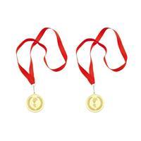 Merkloos 4x stuks gouden medaille eerste prijs aan rood lint -