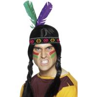 Smiffys 4x stuks indianen verkleed hoofdband met veren -