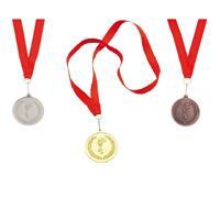 Merkloos 3x stuks medailles goud/zilver/brons aan rood lint -