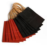 12 Stuks Rood En Zwarte Papieren Zakjes Met Handvat - Bruiloft -