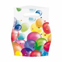 Merkloos Feestzakjes Met Ballonnenopdruk Plastic - 48x Stuks - Uitdeelzakjes - Feestartikelen Verjaardag