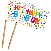 Folat Prikker Happy Birthday 14 Cm Papier/hout 50 Stuks