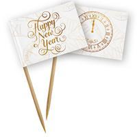 Folat Prikkers Happy New Year 13 Cm Bamboe Wit/goud 50 Stuks