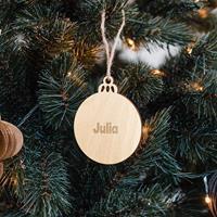 YourSurprise Houten kersthanger met naam graveren - Bal - 4 stuks