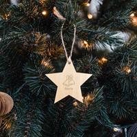 YourSurprise Houten kersthanger met naam graveren - Ster - 4 stuks