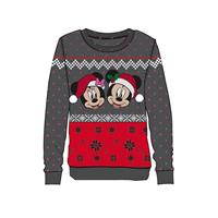Difuzed Disney Ladies Knitted Christmas Sweater Mickey & Minnie Size S
