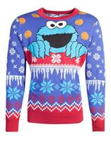 Difuzed Sesame Street Knitted Christmas Sweater Cookie Monster Size M