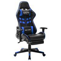 vidaXL Gamestoel met voetensteun kunstleer zwart en blauw