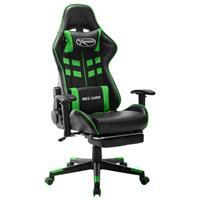 vidaXL Gamestoel met voetensteun kunstleer zwart en groen