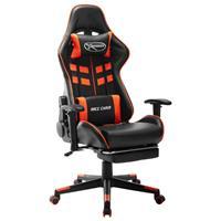 vidaXL Gamestoel met voetensteun kunstleer zwart en oranje