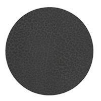 LIND DNA Onderzetter Leer Hippo Zwart Antraciet Ø 10 cm